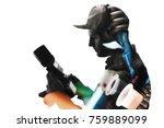 double exposure of tattoo...   Shutterstock . vector #759889099