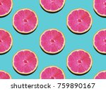 Grapefruit in flat lay fruity...