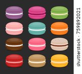 different types of macaroons.... | Shutterstock .eps vector #759892021