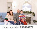 large and friendly family... | Shutterstock . vector #759894979