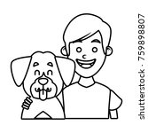 boy with cute dog | Shutterstock .eps vector #759898807