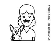 girl with dog cartoon | Shutterstock .eps vector #759898819