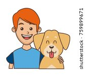 boy with cute dog | Shutterstock .eps vector #759899671