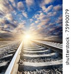 railway to sunny horizon - stock photo
