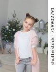 portrait of smiling little girl ... | Shutterstock . vector #759902791