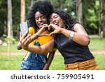 afro women decent taking selfie ... | Shutterstock . vector #759905491