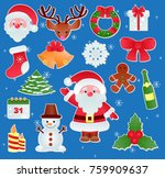 christmas vector icons new year ... | Shutterstock .eps vector #759909637