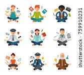meditation yoga vector people...   Shutterstock .eps vector #759910231