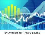 businessman on digital stock... | Shutterstock . vector #759915361