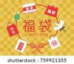 japanese lucky bag vector... | Shutterstock .eps vector #759921355