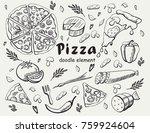 set pizza  doodle element | Shutterstock .eps vector #759924604