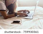 attractive girl using computer...   Shutterstock . vector #759930361