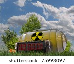 bomb with digital timer in a green garden - stock photo