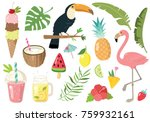 hand drawn cute summer doodle... | Shutterstock .eps vector #759932161