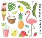 hand drawn summer doodle set ... | Shutterstock .eps vector #759932734
