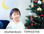 cute child  christmas image | Shutterstock . vector #759933745
