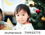 cute child  christmas image | Shutterstock . vector #759933775