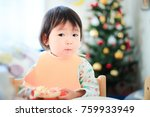 cute child  christmas image | Shutterstock . vector #759933949