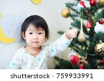 cute child  christmas image | Shutterstock . vector #759933991