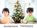 cute child  christmas image | Shutterstock . vector #759934201