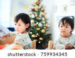 cute child  christmas image | Shutterstock . vector #759934345