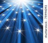 stars  background of blue luminous rays - stock photo