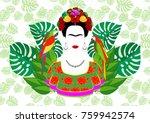 frida kahlo vector portrait ... | Shutterstock .eps vector #759942574