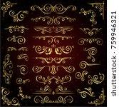 victorian  set of golden ornate ... | Shutterstock . vector #759946321