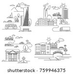 city illustration in linear... | Shutterstock . vector #759946375