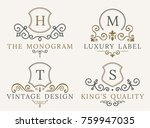 luxury logo set. calligraphic... | Shutterstock . vector #759947035