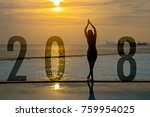 yoga happy new year card 2018.... | Shutterstock . vector #759954025