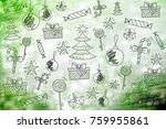 merry christmas wallpaper ... | Shutterstock . vector #759955861
