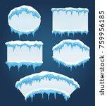 icicles boards. vector frozen... | Shutterstock .eps vector #759956185