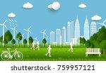 eco green city. environment... | Shutterstock .eps vector #759957121