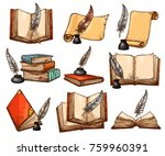 old book and paper scroll with... | Shutterstock .eps vector #759960391