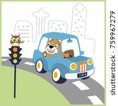 vector cartoon of leo on car...   Shutterstock .eps vector #759967279