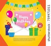 happy birthday vector design... | Shutterstock .eps vector #759971011