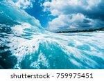 ocean wave breaking on shore....   Shutterstock . vector #759975451