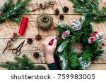 hands make christmas wreath.... | Shutterstock . vector #759983005