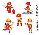 fire ranger fire fighter worker ...   Shutterstock .eps vector #759988801