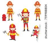 fire ranger fire fighter worker ...   Shutterstock .eps vector #759988804