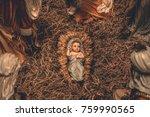 nativity scene christmas crib... | Shutterstock . vector #759990565