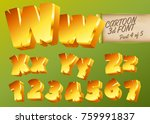 vector 3d gold font in cartoon...