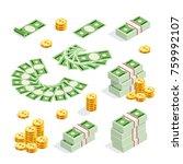 set of isometric money isolated ... | Shutterstock . vector #759992107