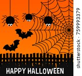 happy halloween poster with... | Shutterstock .eps vector #759993379