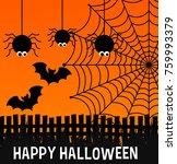 happy halloween poster with... | Shutterstock .eps vector #759993379