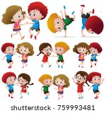 children doing different dance... | Shutterstock .eps vector #759993481