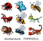 different types of wild insects ... | Shutterstock .eps vector #759993511