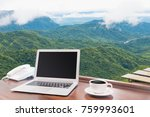 laptops with white coffee mug... | Shutterstock . vector #759993601