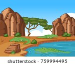 crocodiles in an african pond... | Shutterstock .eps vector #759994495